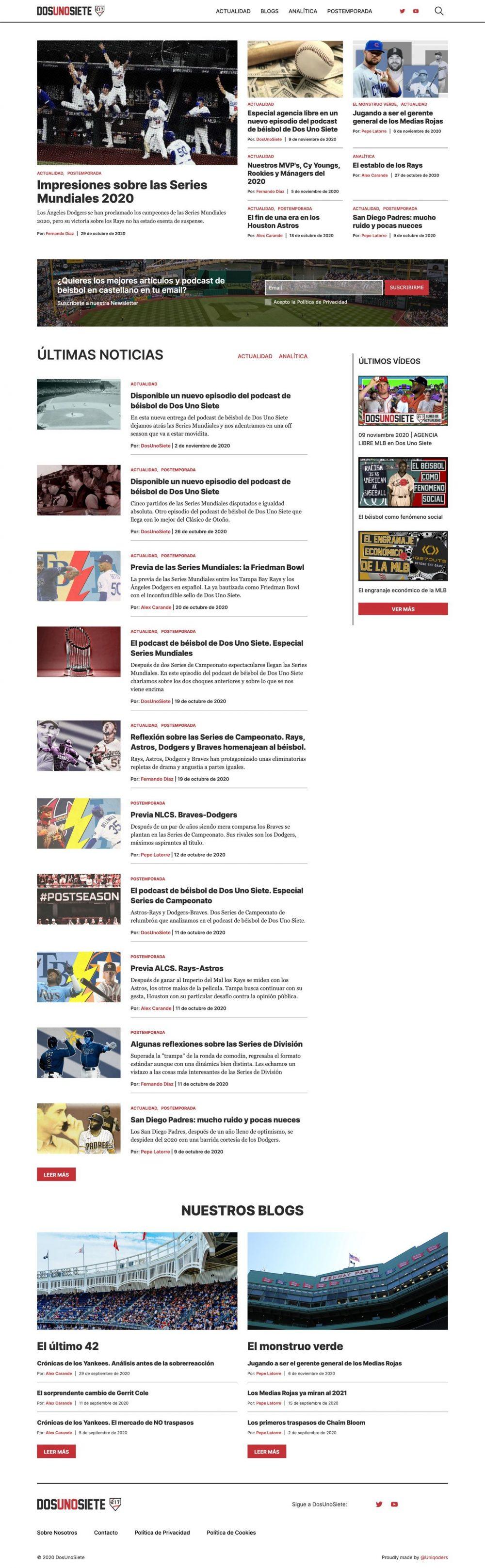 DosUnoSiete web full screenshot