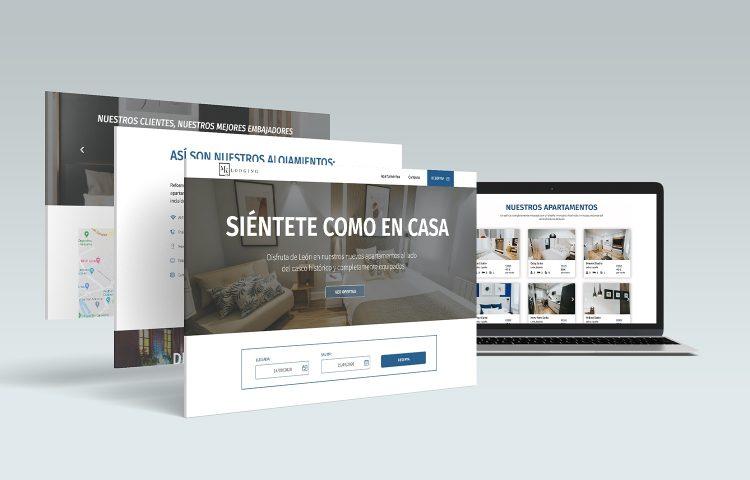 Mk77 apartamentos León web mockup desktop